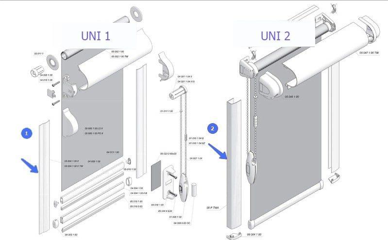 Отличие рулонных штор UNI 1 (УНИ 1) от UNI 2 (УНИ )